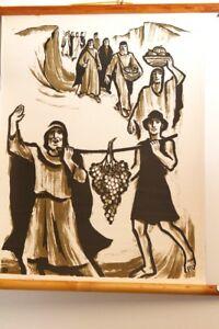Schulwandkarte-Rollkarte-Lehrtafel-Die-Kundschafter-vintage-Religionsunterricht