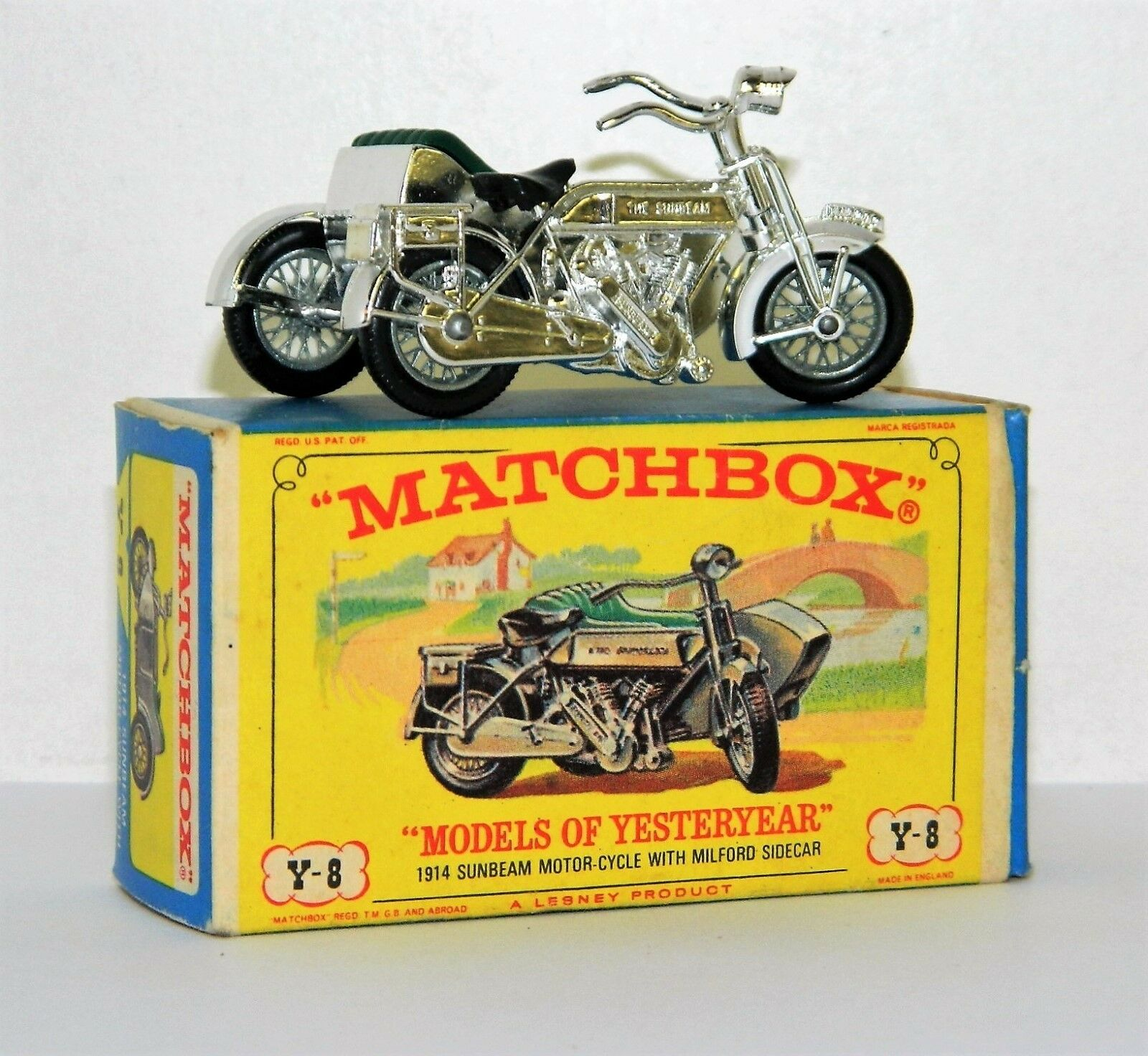 LESNEY MATCHBOX MODELS OF YESTERYEAR 1914 SUNBEAM MOTERCYCLE Y-8 MIB