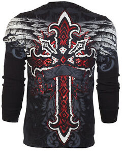 ARCHAIC-by-AFFLICTION-Men-LONG-SLEEVE-THERMAL-Shirt-RED-FLAG-Cross-Biker-UFC-58