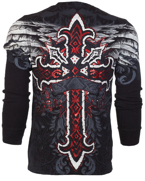 Archaic AFFLICTION Men THERMAL T-Shirt RED FLAG Cross Tattoo Biker UFC M-3XL $58