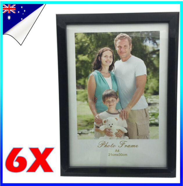 6 x A4 Size Black White EPS Document Certificate Photo Picture Glass Frame Bulk
