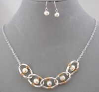 Silver Ring Pearl Gold Wire Wrap Necklace Earrings Set Fashion Jewelry