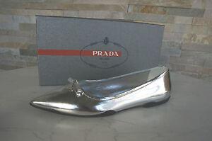 PRADA-Gr-38-5-Ballerinas-Slipper-Halbschuhe-Schuhe-Shoes-silber-neu-UVP-310