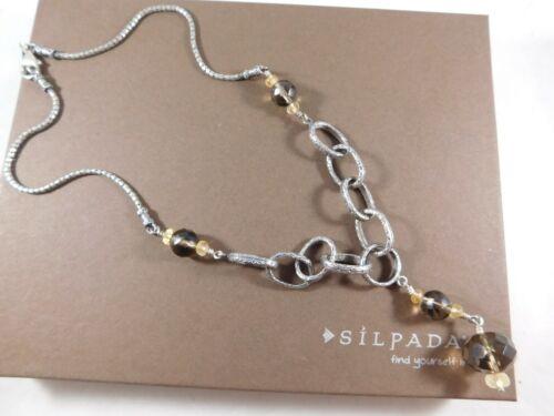 Citrine /& Engraved Sterling Silver Necklace N1454 Silpada Smoky Quartz