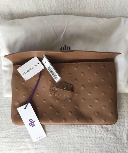 Handbag Tan Brown 328 Ela Clutch Leather Nwt Rare Stud New Milck Studded Purse RtwFqv