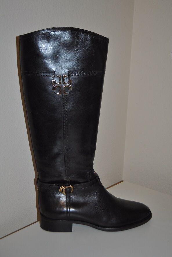 495 Tory Burch ELOISE Marronee Leather Knee High Tall Riding avvio Sz 8 stivali scarpe