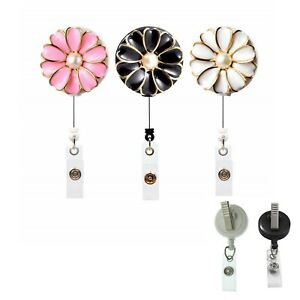 Fleur Perle Rétractable Id Badge Reel Holder-pivotant Clip (noir Blanc Rose)-afficher Le Titre D'origine Service Durable