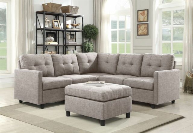 Grey Linen L-Shape Reversible Chaise Sectional Modern Sofa Set Couch  Microsuede
