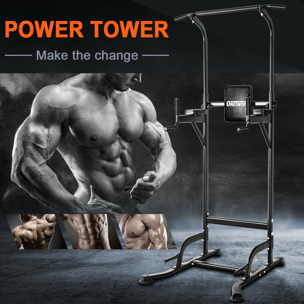 OneTwoFit Power Tower Dip Station Pull Up Home Body Fitness Fitnessstudio OT084