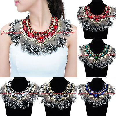 Fashion Chunky Chain Feather Crystal Glass Choker Statement Pendant Bib Necklace