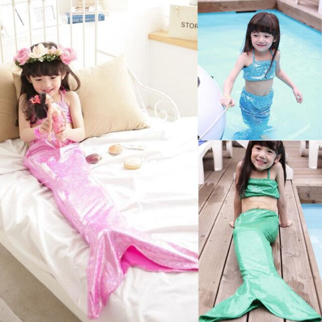 Princess Baby Kids Girls Mermaid Bikini Dress 3 Pieces Set Suit Costume Clothes