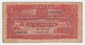 Straits-Settlements-1-Dollar-1925-P9a-gFine-Palm-Trees-Beach-First-Issue-Note