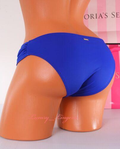 S Small VICTORIA/'S SECRET VS Swim Knockout Side Ruched Bikini Bottom Blue 2TR4