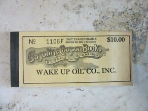 """Vintage UNUSED, full Gasoline Coupon Book """"Wake up oil Co."""" Indiana"""