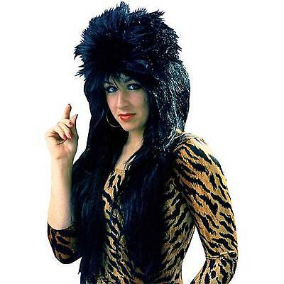 Long Spiked BLACK PUNK ROCKER WIG Cool Gothic Unisex Halloween Costume Accessory