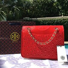 TORY BURCH FLEMING PATENT MEDIUM CHAIN BAG MASAAI RED NWT $465 & GIFT BAG MINT!