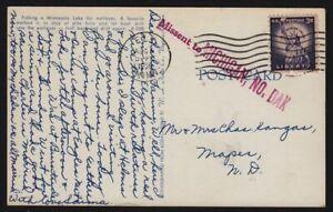 1958-auxiliary-marking-MISSENT-to-MICHIGAN-No-DAK-North-Dakota-ND