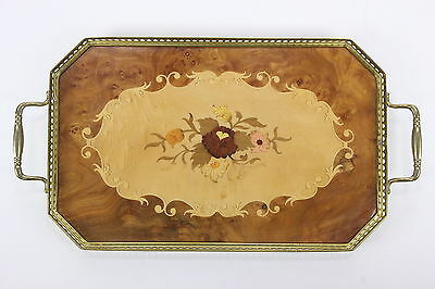 "Wood Inlay Serving Tray W/ Brass Rim & Handles Lacquered Finish16 3/4"" X 9"""