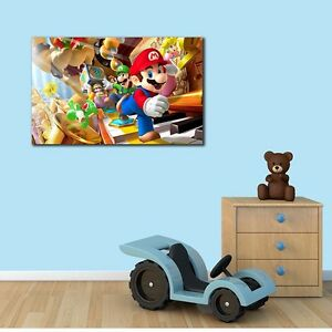 Super-Mario-Stretched-Canvas-Print-Framed-Wall-Art-Kids-Boys-Nursery-Home-Decor