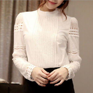 Women-Casual-Lace-Crochet-Hollow-Slim-Blouses-Long-Sleeve-Solid-White-Shirt-Top