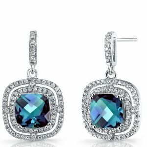 Sterling-Silver-925-Faceted-Blue-Topaz-Pave-CZ-Halo-Drop-Dangling-Hook-Earrings
