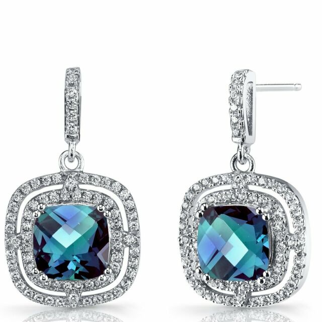 2.00 CT Blue Topaz Pave Halo Drop Dangling Earrings ITALY MADE with Gift Box