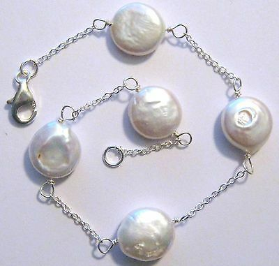 """White Coin Pearl Ankle Bracelet Sterling Silver .925 Select Length 9"""" or 10"""""""