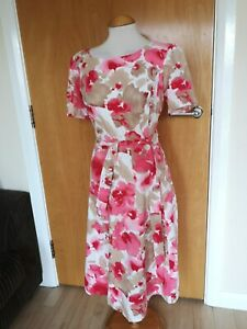 Ladies-Dress-Size-14-PAPAYA-Pink-White-Fit-and-Flare-Linen-Blend-Smart-Party-Day