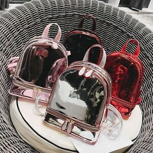 Convertible-Shiny-Reflective-Faux-Leather-Small-Mini-Backpack-Purse-Shoulder-Bag