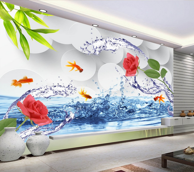 3D Water Goldfish Flowers 9 Wallpaper Mural Paper Wall Print Wallpaper Murals UK