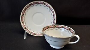 Aynsley-England-Bone-China-Floral-Border-Cup-amp-Saucer
