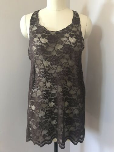 Bonnie Strauss Brown Lace Knit Sheer Sleeveless Bl