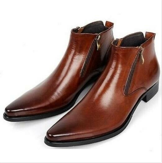shop66 British Mens Pointed Toe Zipper Leather F Formal Dress Shoes Ankle Boots