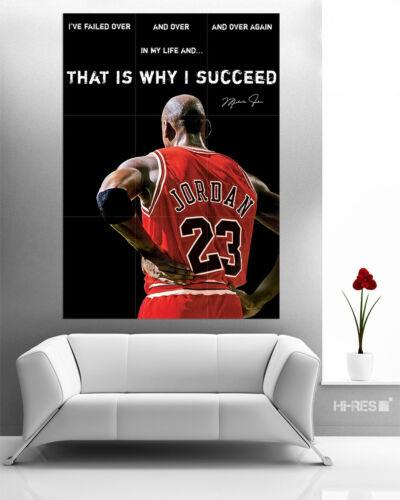 MICHAEL JORDAN POSTER MiJo4 NBA Basketball MOTIVATIONAL Quote Sportsman Wall art