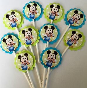Image Is Loading 30 BABY MICKEY MOUSE Cupcake Toppers Birthday Party
