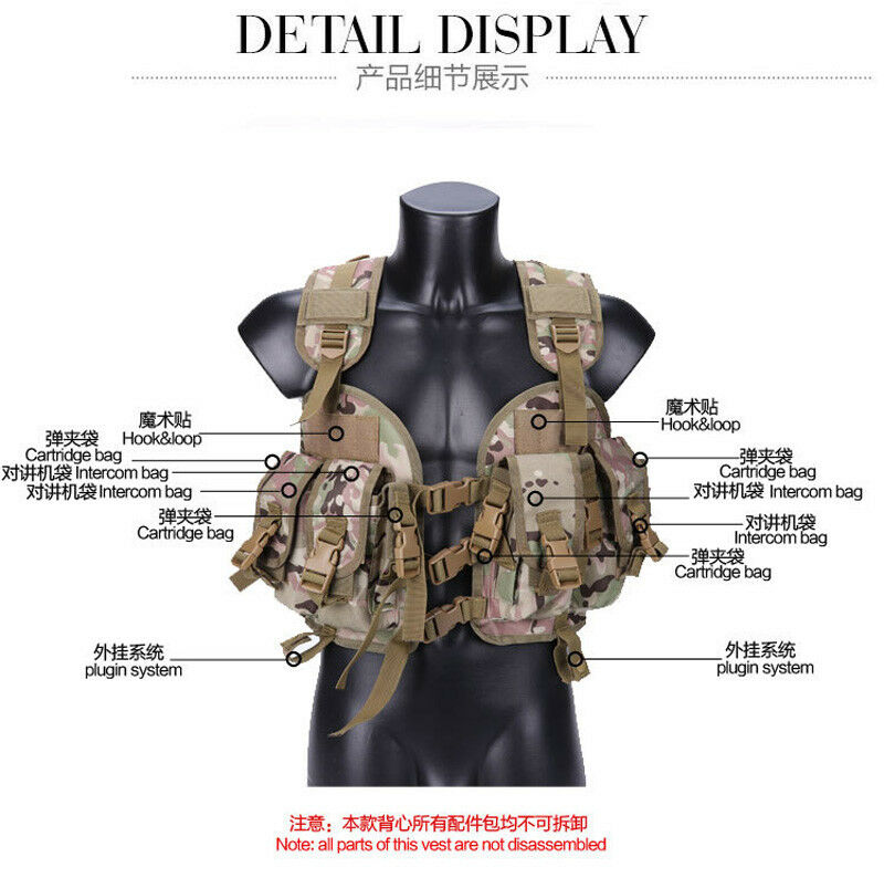 CQB modular Tactical Hunting Airsoft Molle Vest Armor with kettle bag 6 colors