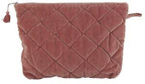 Kulturbeutel-Kosmetiktasche-rosa-Samt-Rauten-Muster-Velour-IB-Laursen