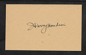 Harry Houdini Autograph Reprint On Genuine Original Period 1910s 3x5 Card