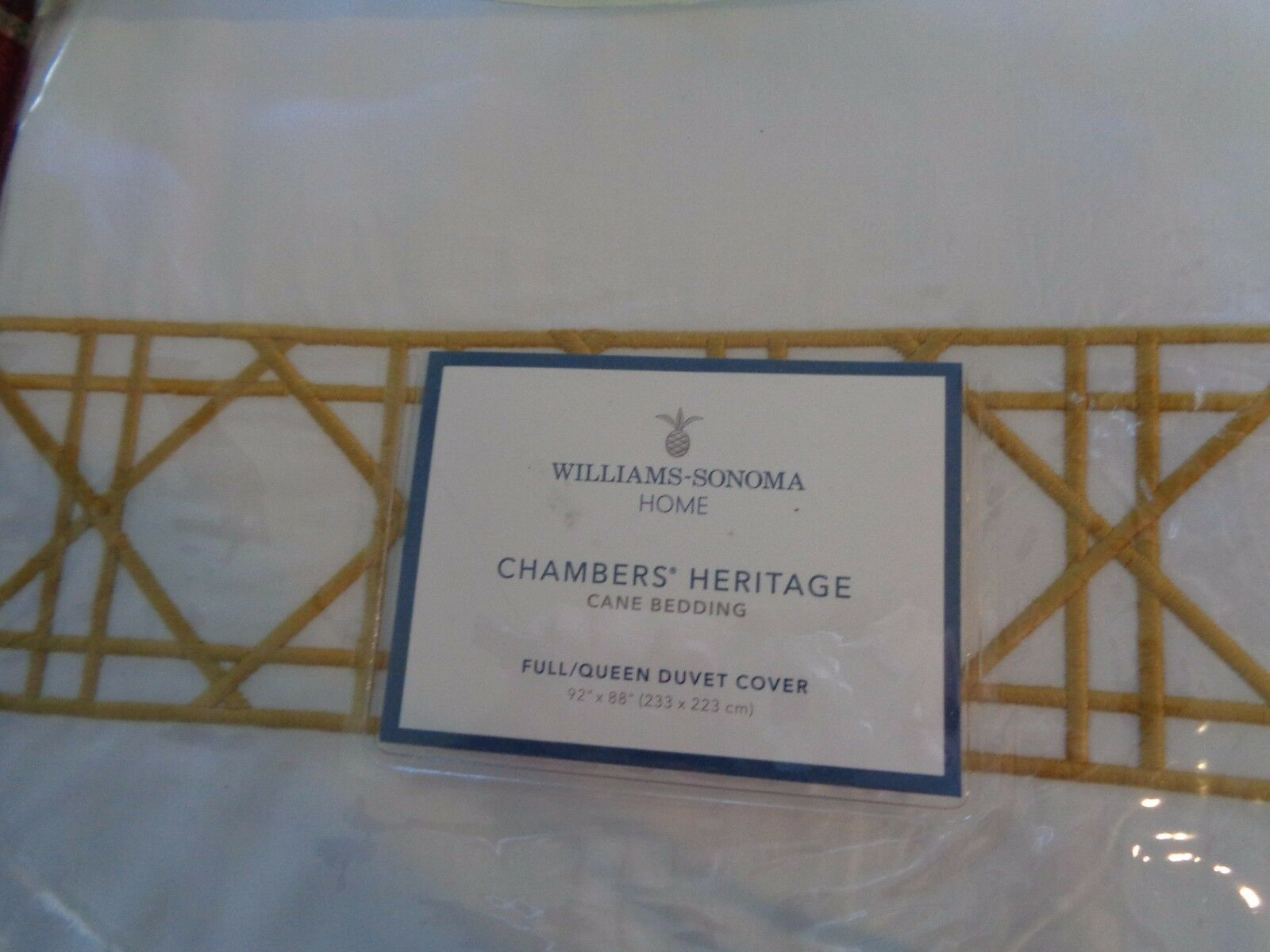 Williams Sonoma Heritage Cane Embroidery full Queen duvet 2 standard pcs yellow