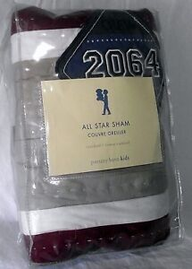 Pottery-Barn-Pillow-Sham-Sports-All-Star-2064-Kids-NEW-Blue-Red-Tan-Quilt-New