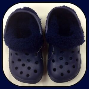 Ladies-Men-s-Blue-Removable-Fluffy-Slipper-Clog-Shoes-Adult-Size-3-EU-36