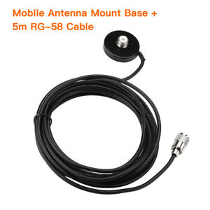 Mobile-Antenna-Magnetic-Mount-Base-Holder-w-5m-Coaxial-Cable-UHF-Male-Connector