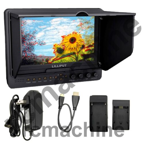 """Lilliput 7/"""" 665//O//P PEAKING Zebra Exposure Filter HDMI IN /& OUT Monitor+mount"""