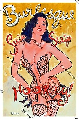 "Retro Vintage Burlesque Colour Poster ""Strip Strip Hooray"" re-print Dita, pin-up"