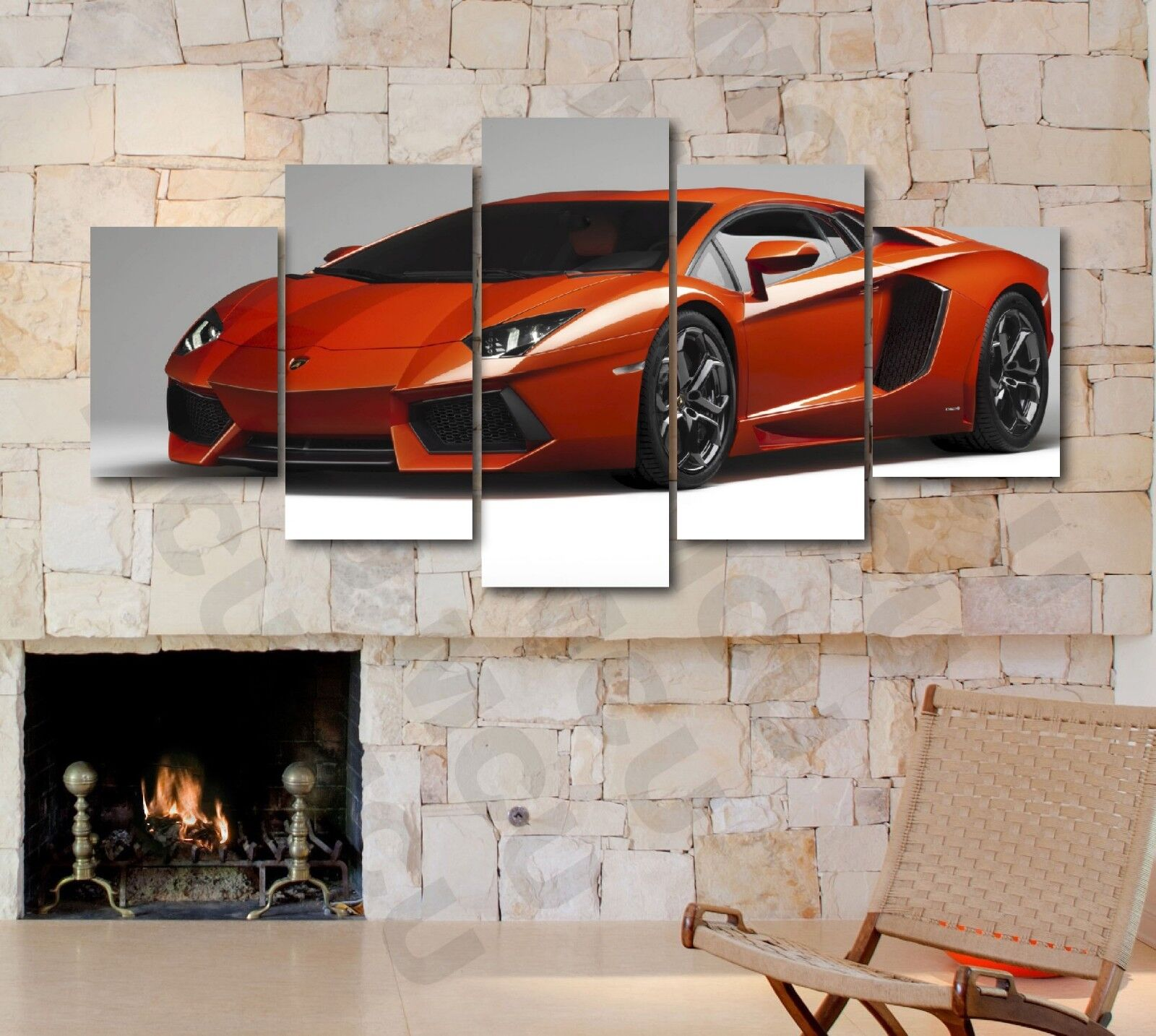 Panoramic 5 Piece Lamborghini Aventador LP700-4 Picture Canvas Print Home Decor