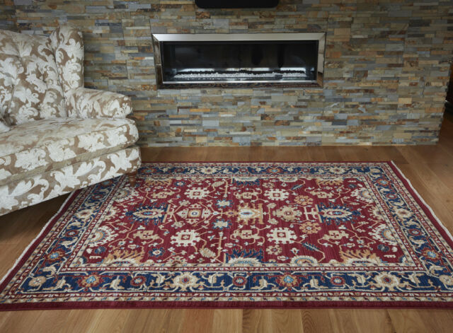 Traditional Oriental Persian Style Red Navy Rug in 120 x 180 cm (4x6') Carpet