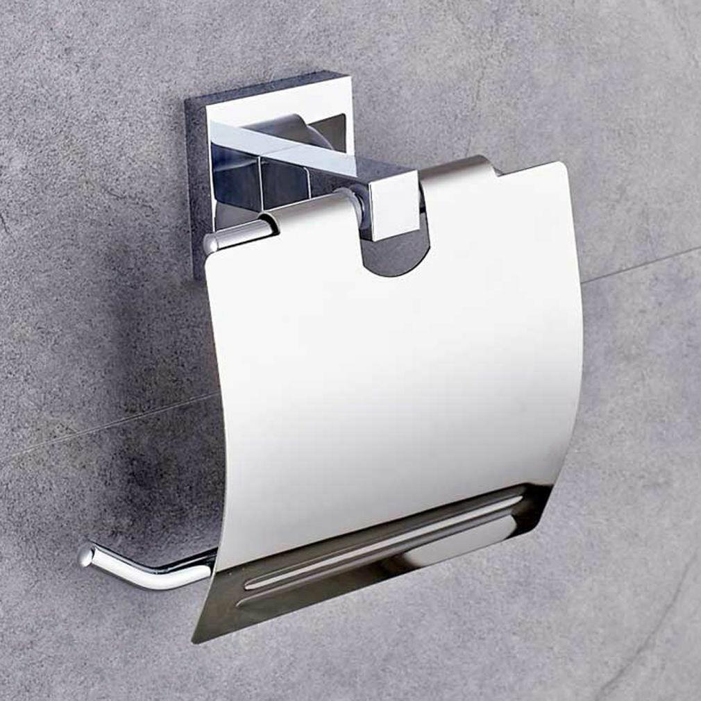 Toilettenpapierhalter WC-Rollenhalterung Papierrollenhalter mit Deckel Edelstahl