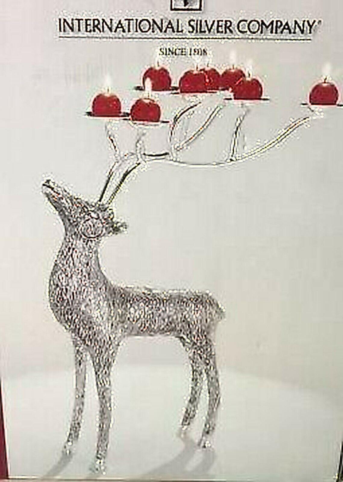 Nuevo en la Caja Internacional astilla placa 19  renos sostenedor de vela