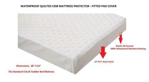 100/% Waterproof Fitted Crib and Toddler Protective Mattress Protector Pad Cover