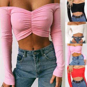 Sexy-Women-Off-Shoulder-T-Shirt-Crop-Top-Summer-Long-Sleeve-Slim-Tops-Blouse-Hot